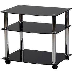 Glass Trolley Stand Unit For TV Television Hifi Stereo Portable On Wheels Black