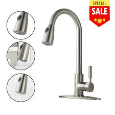 Commercial Pre-Rinse Kitchen Sink Faucet Pull Down Sprayer Brushed Nickel Brass