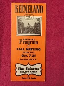 1961 KEENELAND BREEDERS FUTURITY PROGRAM PREAKNESS WINNER GREEK MONEY DERBY
