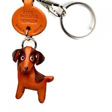 Jack Russell Terrier Handmade 3D Leather Dog Keychain Vanca Made in Japan #56736