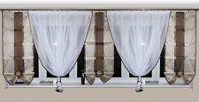 Rideau prêt à poser en VOILE Set Beau AG7 moderne blanc marron fenêtre