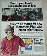 1976 ad page -Borateem laundry bleach-cowboy Stunt Man Borax-old coupon PRINT AD