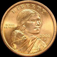 """2000-D Sacagawea Dollar US Mint Coin in """"Brilliant Uncirculated"""" Condition"""