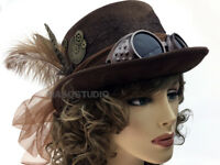 NEW Metalic Rustic Steampunk Cosplay Costume Burning Man Top Hat w Spot Light