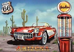 Arizona Route 66, Road Chicago to Los Angeles Oldtimer Car Cactus Gas - Postcard