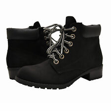 Women's Shoes Soda EQUITY Low Heel Lace Up Ankle Booties BLACK