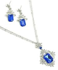 Cobalt Blue Victorian Pendant Women wAustrian Crystal Necklace Silver Plated New