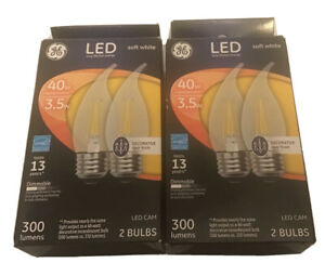 2 GE 2-pack LED CAM Decorative 40w Replace 3.5w Clear Finish Soft White Bulbs
