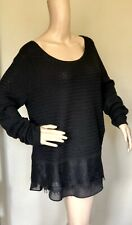 Lucky Brand Black Contrast Lace Hem Top Long Sleeve Cotton Scoop Neck M