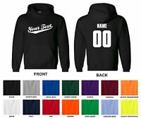 Personalized Custom Your Text Name & Number Hooded Sweatshirt, Baseball Script