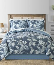Charcoal Blue Coastal Beach Palm Leaves Reversible King Comforter Set (8 Pc)