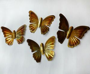 SET OF 4 Vintage Mid Century Modern Copper Brass Colored Butterflies Wall Decor