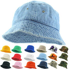 Bucket Hat Cap Fishing Boonie Brim Visor Sun Safari Summer Unisex 100% Cotton