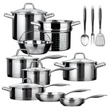 Duxtop Stainless Steel Induction Cookware Set Impact Bonded 17 Pieces SSIB-17