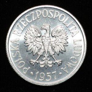 Poland 1957 50 Groszy Lustrous UNC Y 48.1 Aluminum Polish Coin