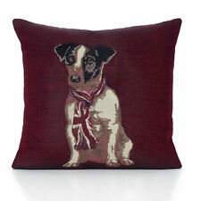Jack Russell Tapestry 18 Inch Cushion Cover Vintage Burgundy Red Union Flag