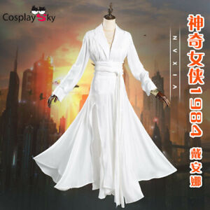 Wonder Woman 1984 Diana Prince Cosplay Costume White Dress Uniform Full Set