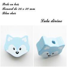 Perle en bois de 36 x 30 mm, Perle plate grosse Tête de renard : Bleu clair