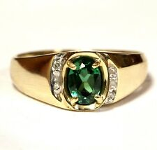 10k yellow gold men's created emerald ring 3.5g gents