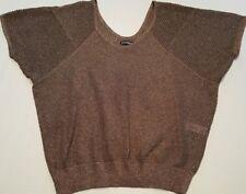 EXPRESS Sz S Brown/ Bronze Metallic Knit Batwing Sweater A2