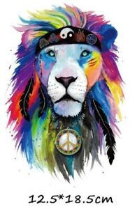 Hippy Lion Transfer Iron-On Clothing Decal 18.5 x 12.5 cm Tiger Love Peace World