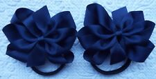 "2 NAVY BLUE 3"" BOWS GIRLS UNIFORM GROSGRAIN RIBBON ON BLACK HAIR BOBBLES"