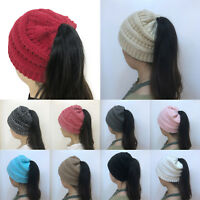 Womens Girls Stretch Knitted Hat Messy Bun Ponytail Beanie Holey Winter Warm Hat