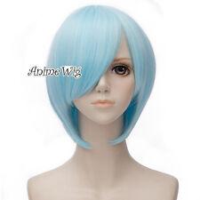 30CM Anime EVA Ayanami Rei Light Blue Short Basic Cosplay Bang Wig Party+Cap