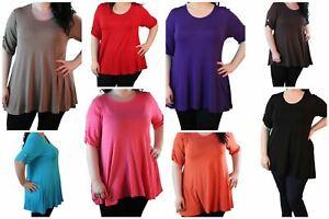 Plus Size Ladies Plain Shirt Button Sleeve Women Scoop Neckline Tunic Style Top
