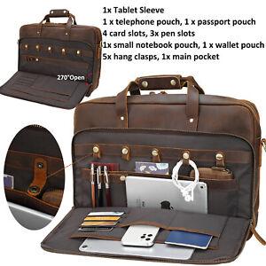 """Men's Leather Briefcase 17.3"""" Laptop Bag Messenger Shoulder Bag Carry On Handbag"""
