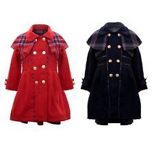 Girls Tartan Warm Fleece Lined Coat Smart Childrens Skater Dress Matching Set
