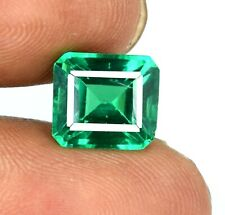 Green Emerald 5.65 Ct 100% Natural Emerald Cut Zambian Gemstone Certified U3537