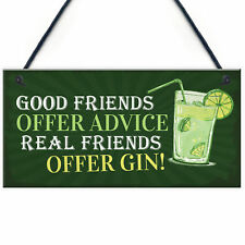 Friendship Gin Sign Garden Plaque Shed Home Bar Pub Alcohol Kitchen Plaque Gift