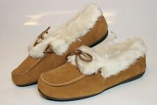 Vionic Juniper Womens 10 42 Brown Suede Plush Slippers Moccasins Flats Shoes