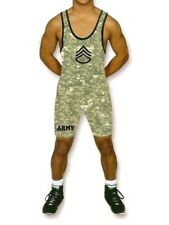 Matman Army Camo Wrestling Singlet Mens Size X-Small Xs With Insignia