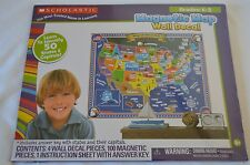 SCHOLASTIC MAGNETIC MAP WALL DECAL INTERACTIVE GEOGRAPHY LESSON FOR HOME SCHOOL