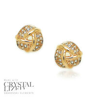 LOVE KNOTS Swarovski Elements Crystal 18-KRGP Gold Plated Wedding Stud Earrings