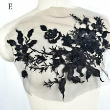 Bridal Beaded Embroidery Lace Applique Black Applique Flowers Trim for Wedding