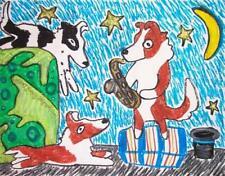 Sheltie Street Player Shetland Sheepdog Dog Pop Art Print 8 x 10 Ksams Saxophone