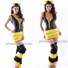 Ladies Queen Bee Fancy Dress Halloween Animal Tiger Costume with Stockings