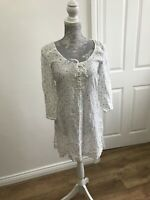 White Stuff Linen White Smock Top With Blue, Green And Brown Spots - UK Size 8