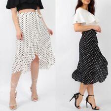 New Women's Ladies Tie Belt Polka Dot Frill Hem Wrap Midi Skirt Ruffle Hem Skirt