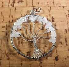 NATURAL RAINBOW MOONSTONE TREE OF LIFE  WIRE WRAPPED PENDANT STONE GEMSTONE