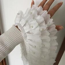"""1 Yard Beaded Ruffled White Chiffon 3 Layer Lace Trim Wedding Dress 4.3"""" Width"""