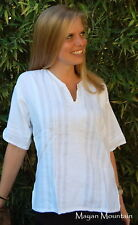 SUPPORT OUR CHILDREN'S HOME: GUATEMALAN HAND MADE TUNIC SHIRT WHITE MEDIUM M