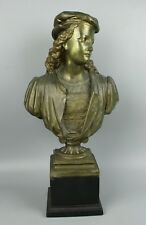 """Antique Duchoiselle Bronze Bust """"Young Raphael"""" WorldWide"""