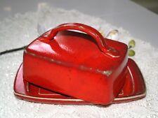 Butterdose rot mit Henkel Keramik rote Butterdosen Töpferei Butterglocke Dawanda