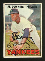 Al Downing Yankees Signed 1967 Topps Baseball Card #308 Auto Autograph 2