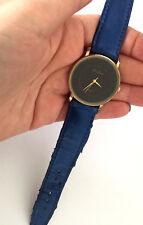Philip Persio Quartz Men's Wrist Watch Black Dial Blue Band Runs