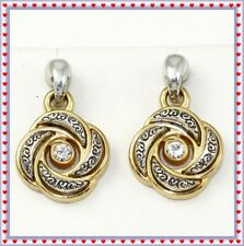 Brighton Love Knot Silver Gold Crystal Post Earrings